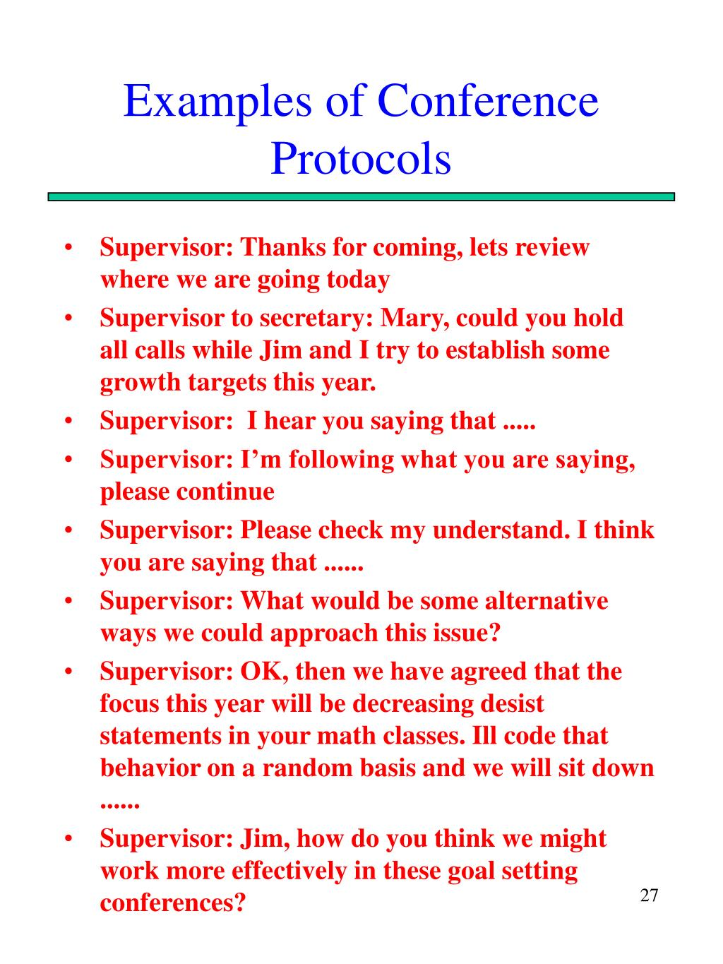 Examples of Conference Protocols
