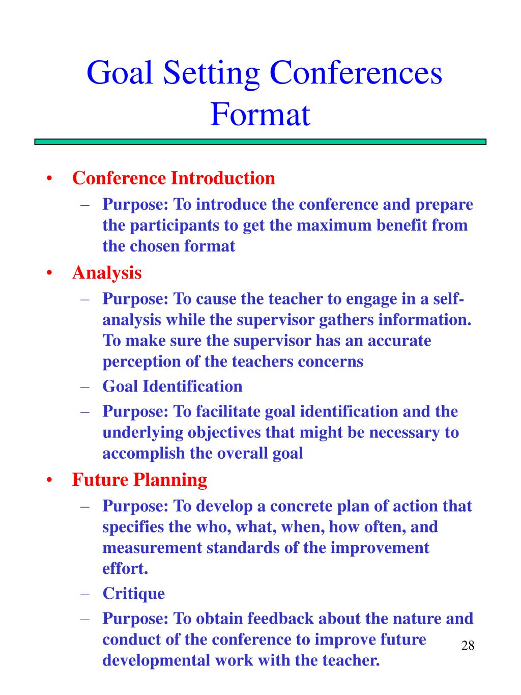 Goal Setting Conferences Format