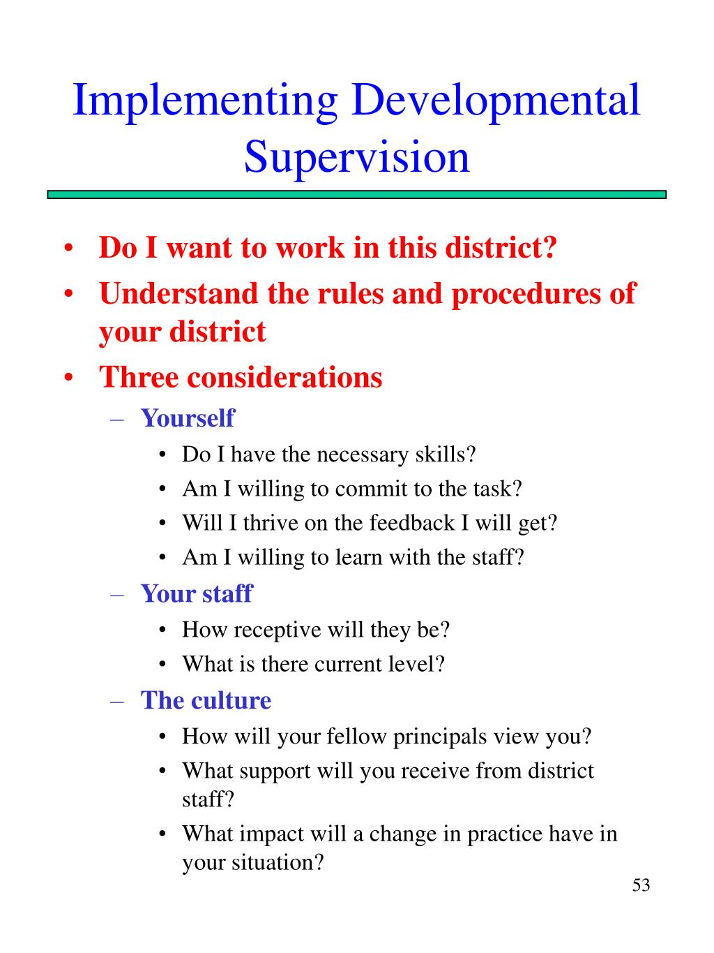 Implementing Developmental Supervision