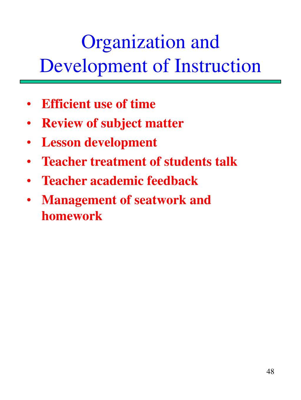 Organization and Development of Instruction