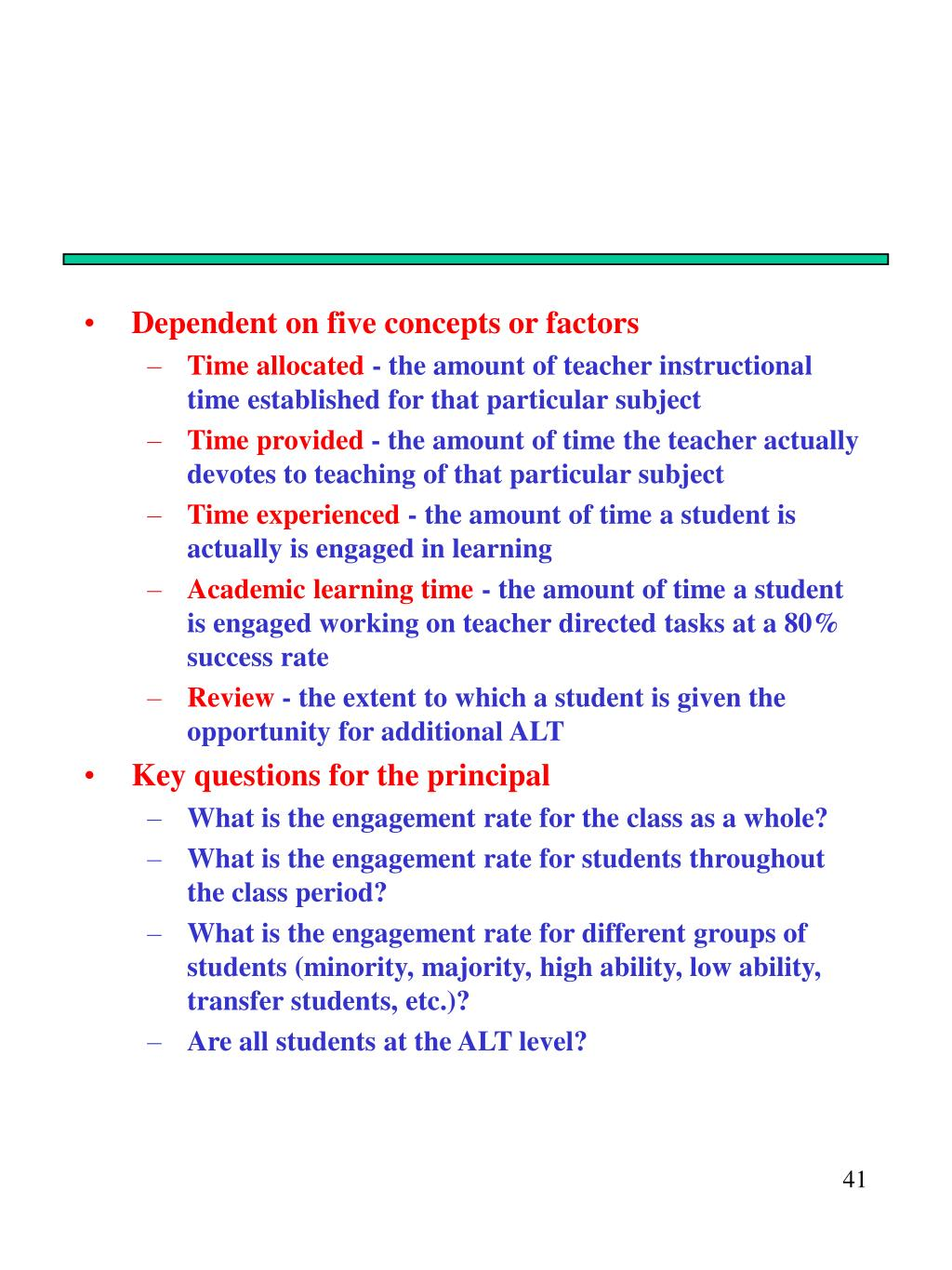 Dependent on five concepts or factors