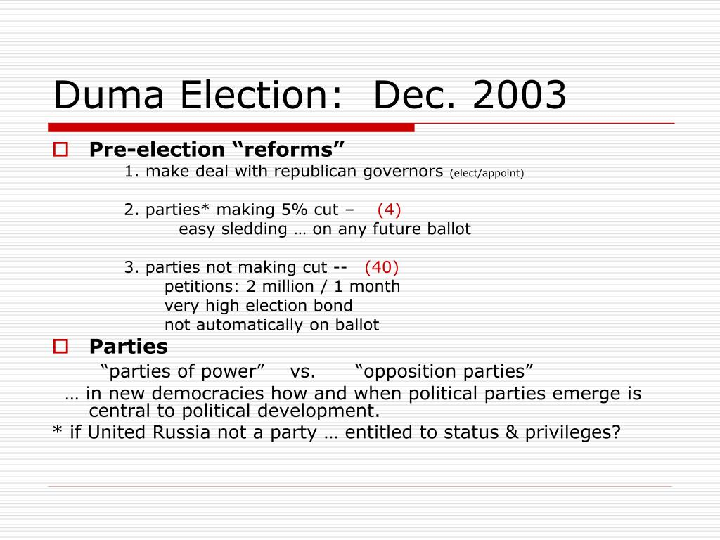 Duma Election:  Dec. 2003