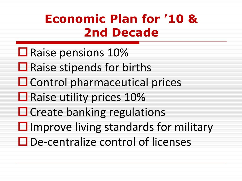 Economic Plan for '10 &
