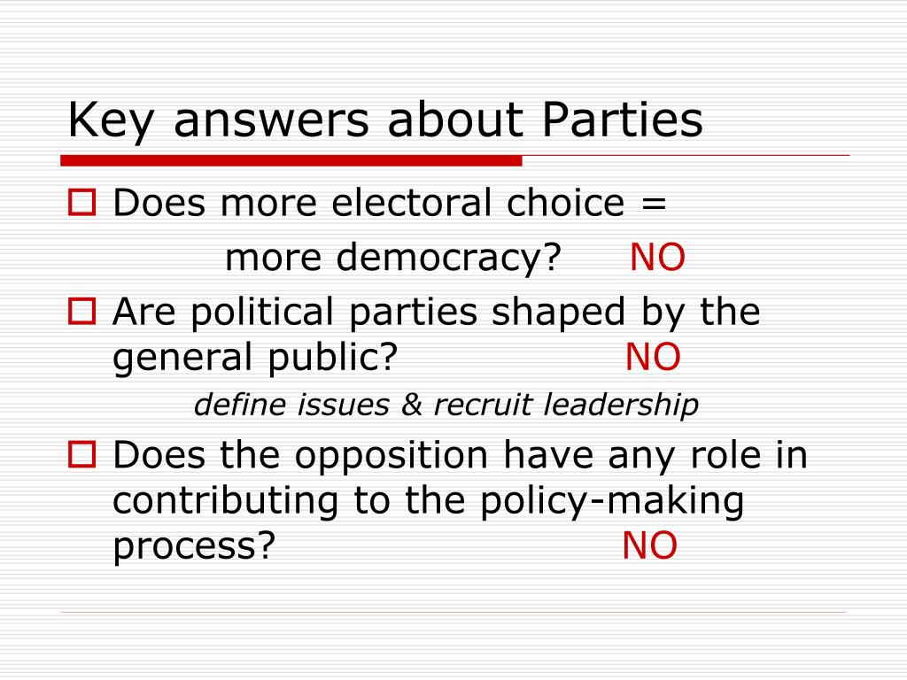 Key answers about Parties