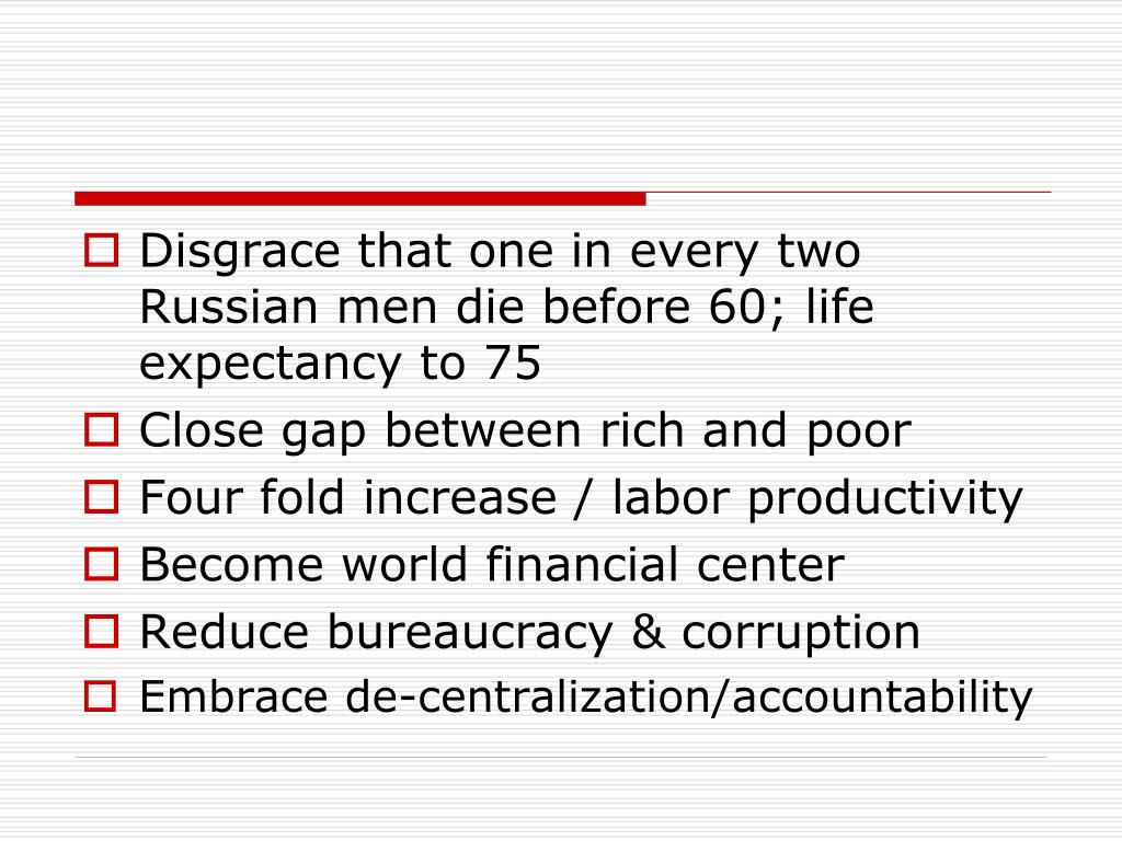 Disgrace that one in every two Russian men die before 60; life expectancy to 75