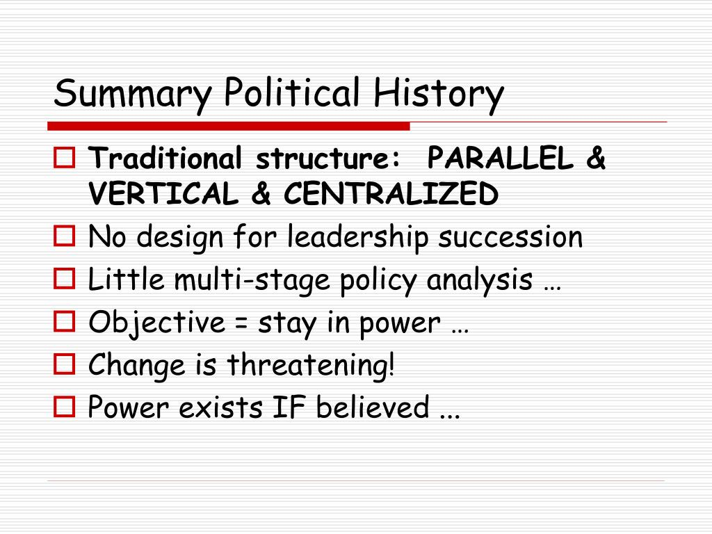Summary Political History
