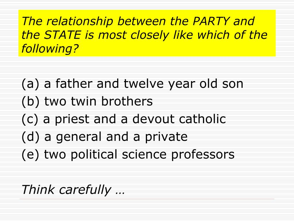 The relationship between the PARTY and the STATE is most closely like which of the following?