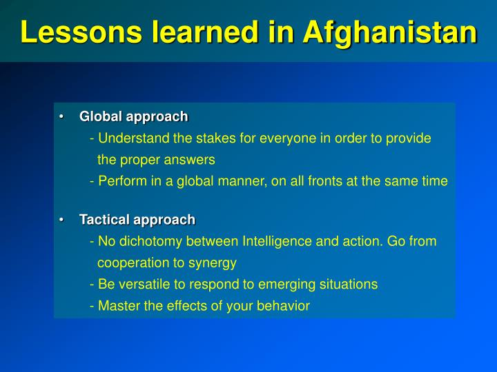 Lessons learned in Afghanistan