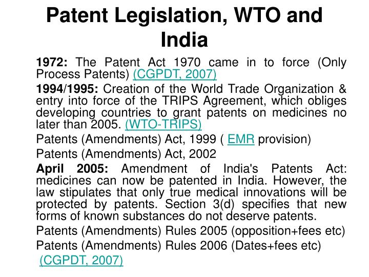 Patent legislation wto and india