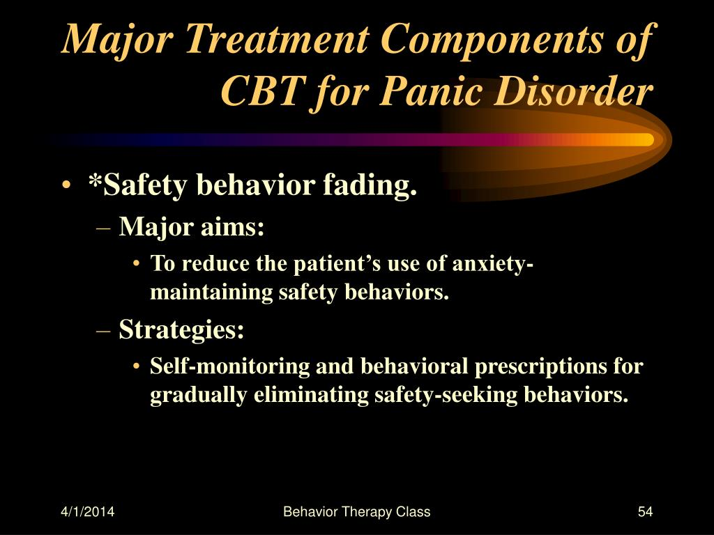 Major Treatment Components of CBT for Panic Disorder