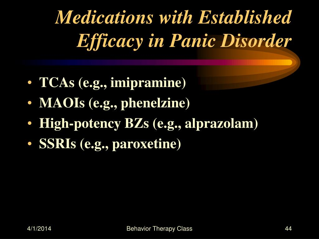 Medications with Established Efficacy in Panic Disorder