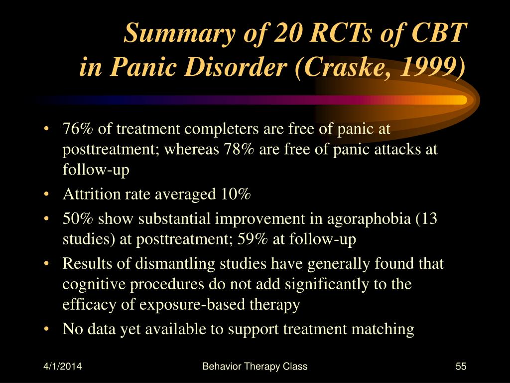 Summary of 20 RCTs of CBT
