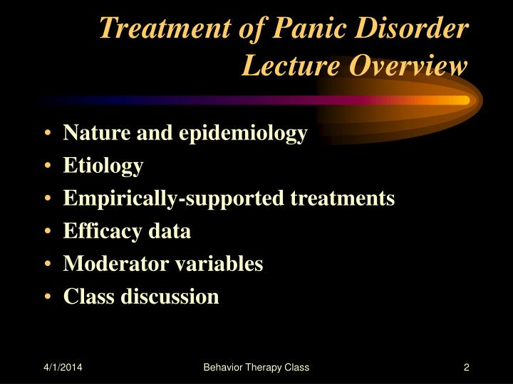 Treatment of panic disorder lecture overview