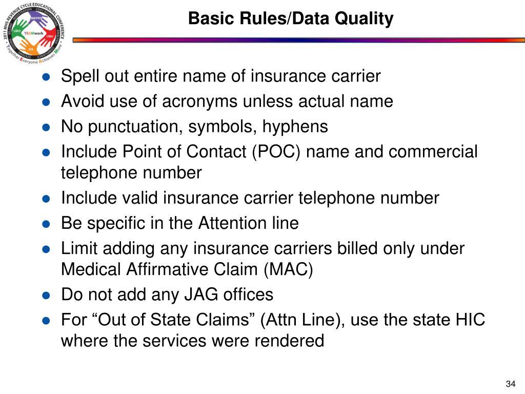 Basic Rules/Data Quality