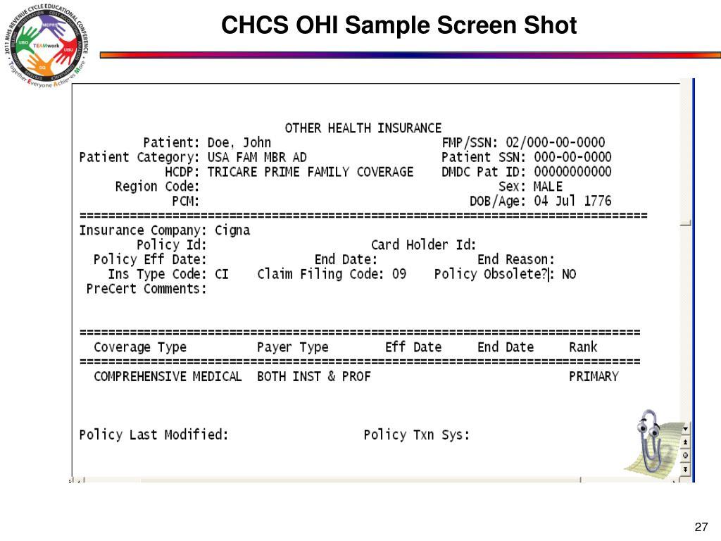 CHCS OHI Sample Screen Shot