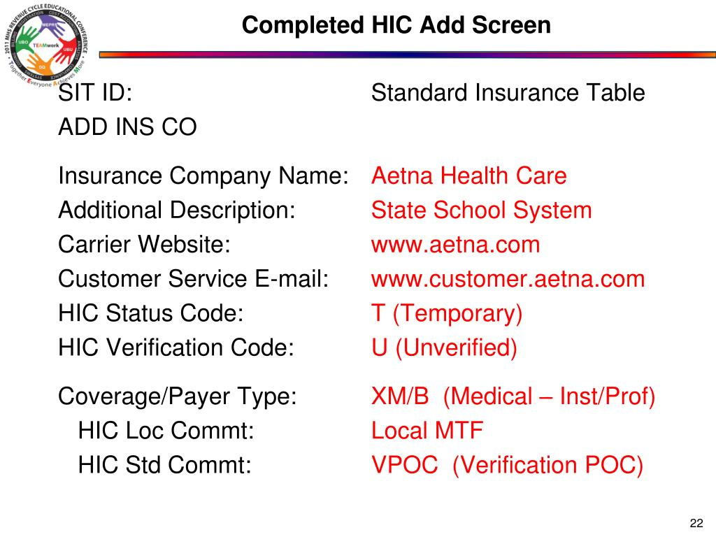 Completed HIC Add Screen
