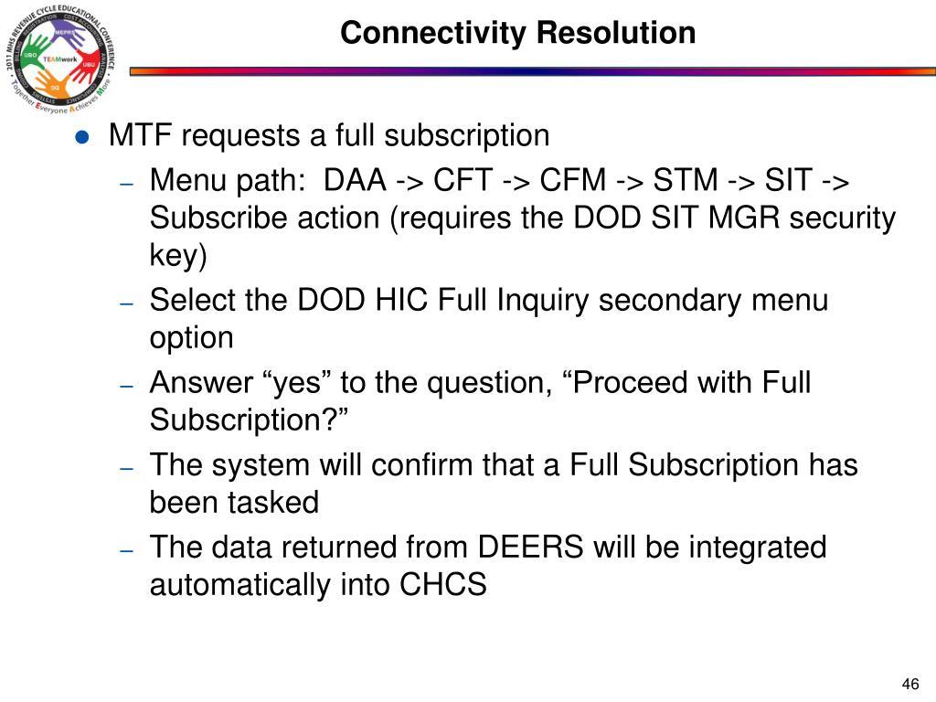 Connectivity Resolution