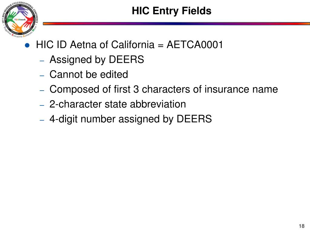 HIC Entry Fields