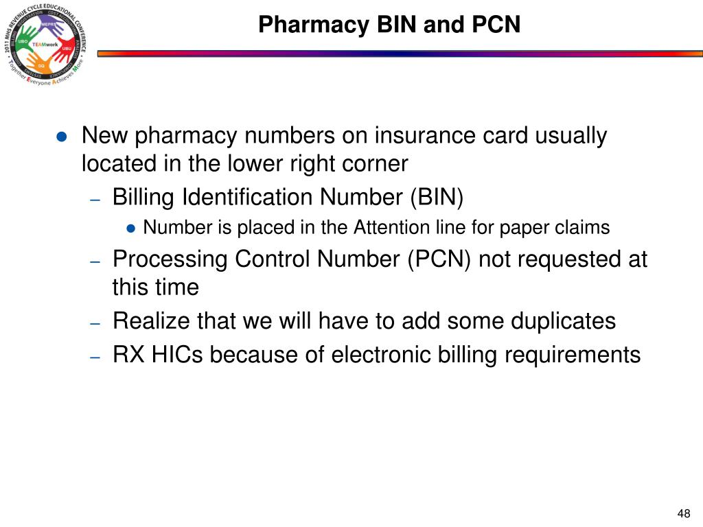 Pharmacy BIN and PCN