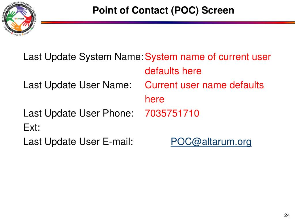 Point of Contact (POC) Screen