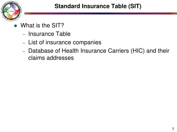 Standard insurance table sit