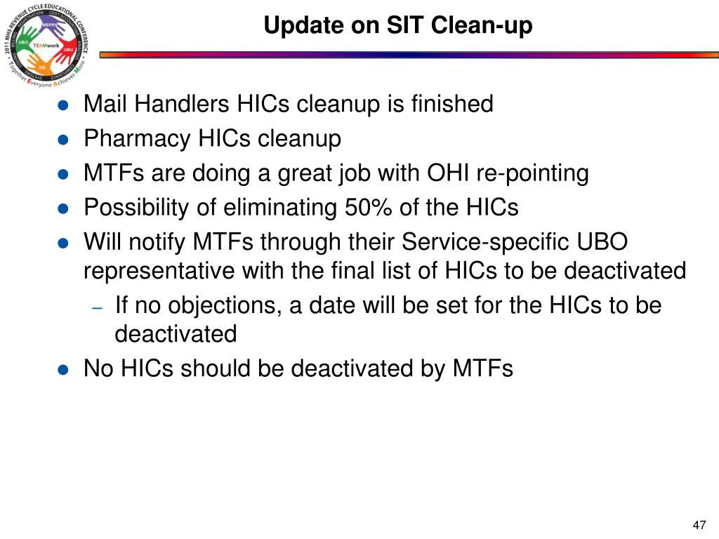 Update on SIT Clean-up