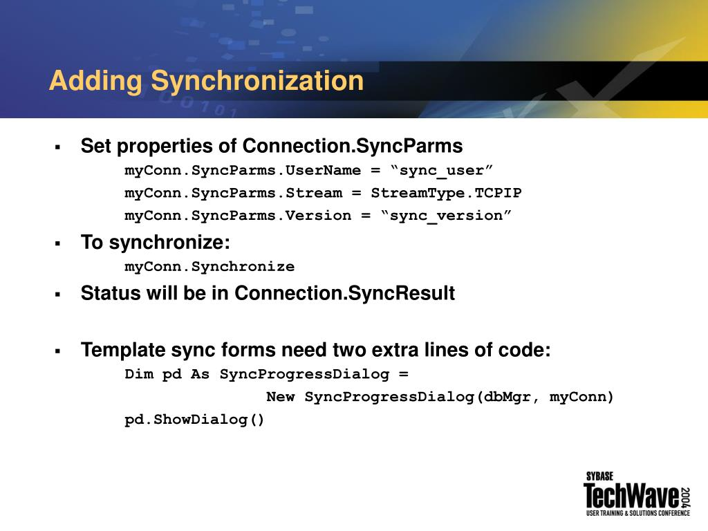 Adding Synchronization