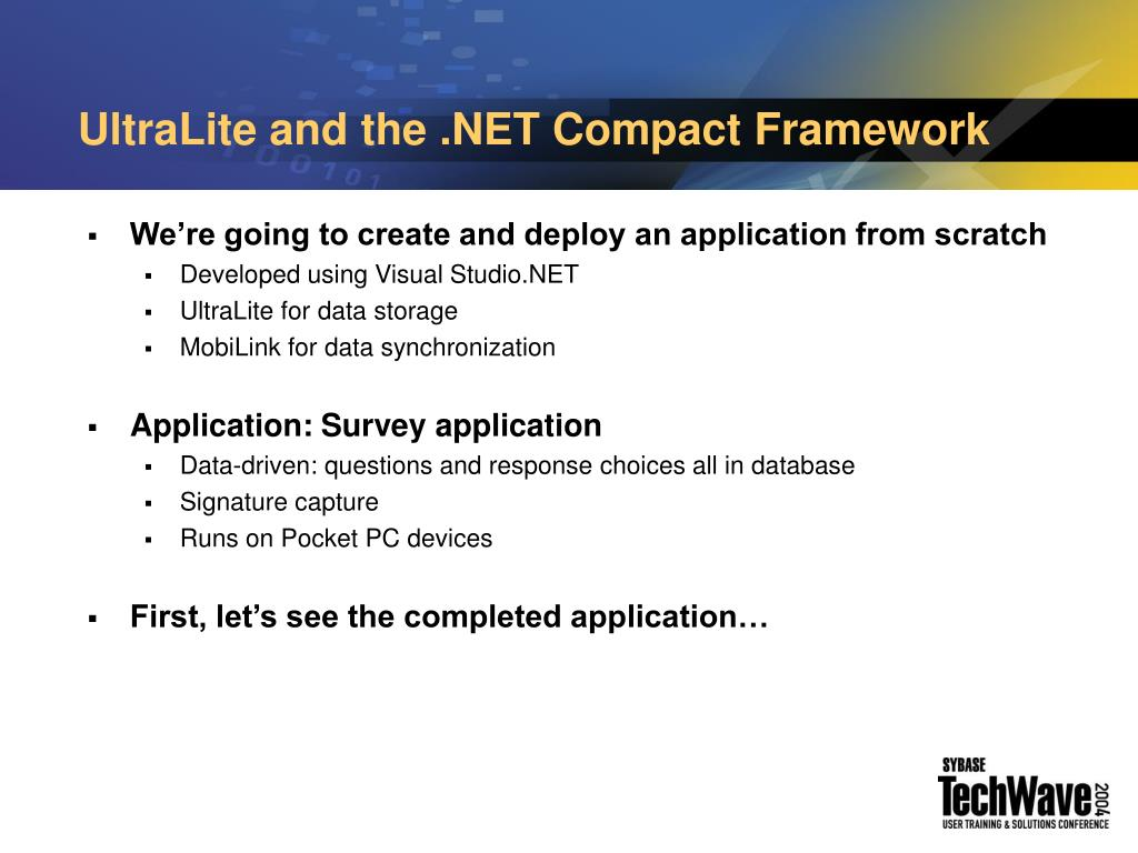 UltraLite and the .NET Compact Framework