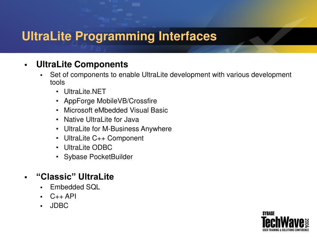 UltraLite Programming Interfaces