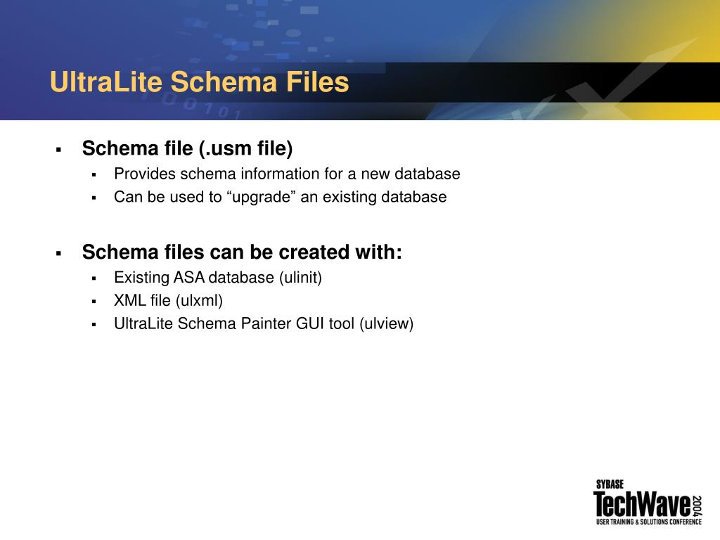 UltraLite Schema Files