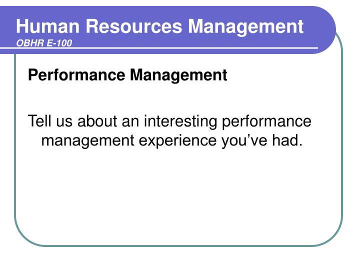 Human resources management obhr e 1002