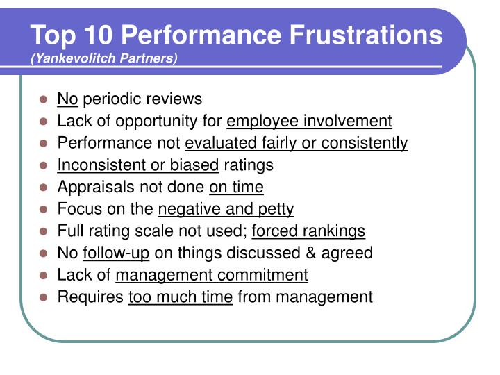 Top 10 performance frustrations yankevolitch partners