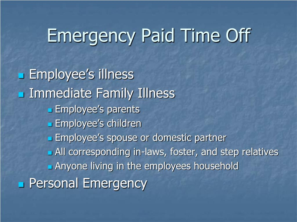 Emergency Paid Time Off