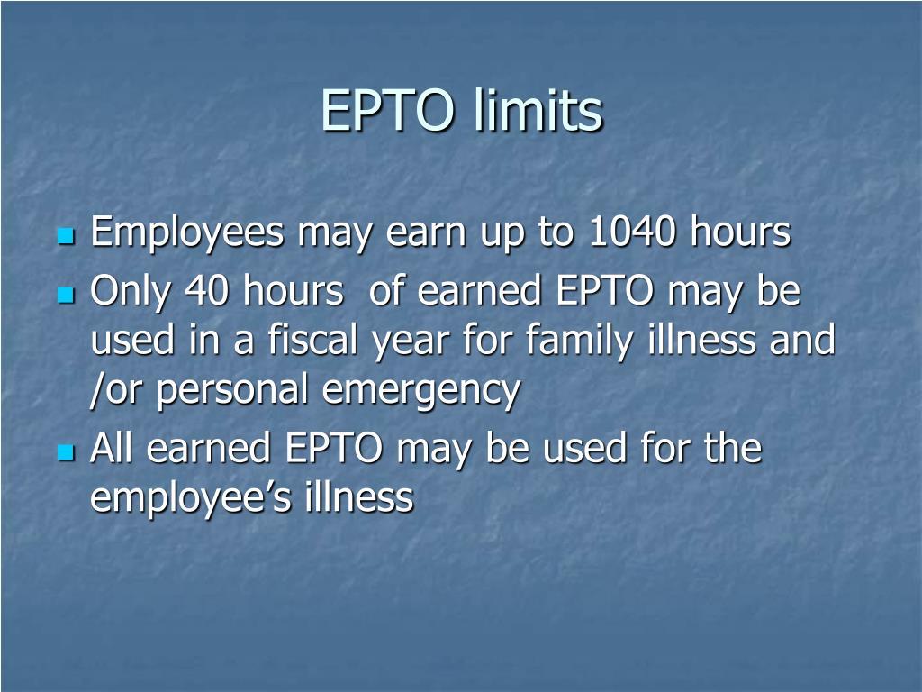 EPTO limits
