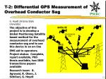 t 2 differential gps measurement of overhead conductor sag