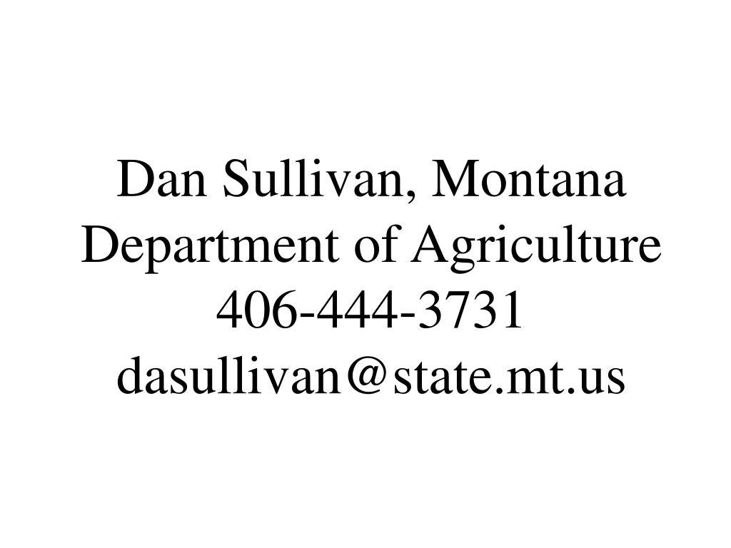 Dan Sullivan, Montana Department of Agriculture