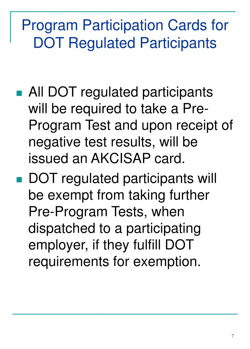 Program Participation Cards for DOT Regulated Participants