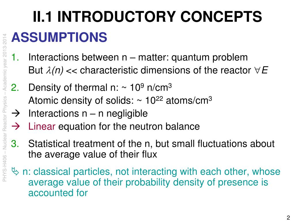 II.1 INTRODUCTORY CONCEPTS