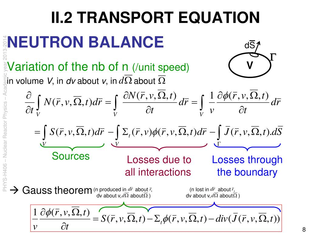II.2 TRANSPORT EQUATION