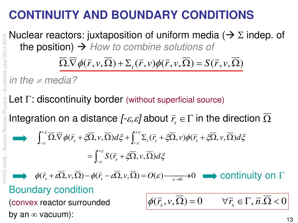 CONTINUITY AND BOUNDARY CONDITIONS
