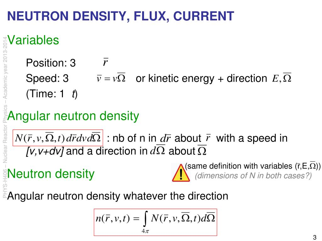 NEUTRON DENSITY, FLUX, CURRENT