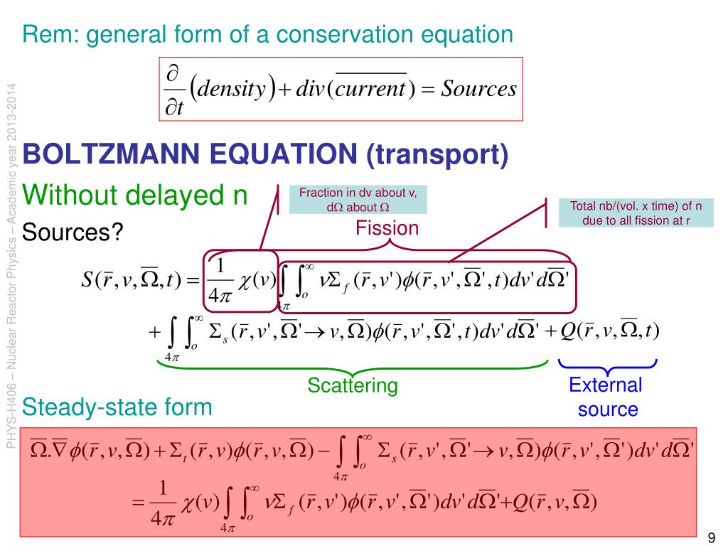 Rem: general form of a conservation equation