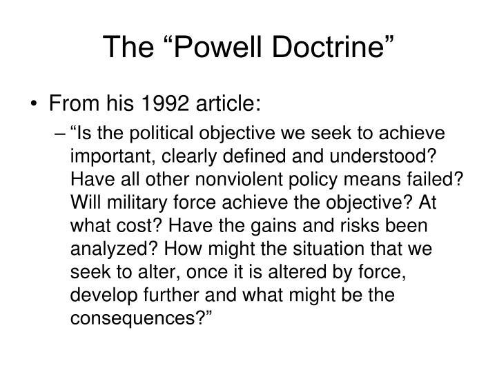 "The ""Powell Doctrine"""
