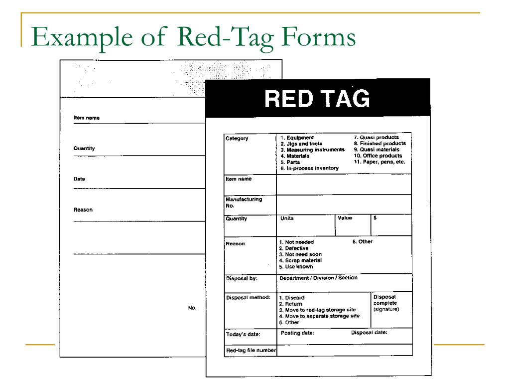 Example of Red-Tag Forms
