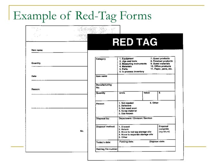 Example of red tag forms