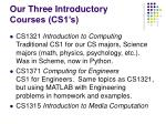 our three introductory courses cs1 s