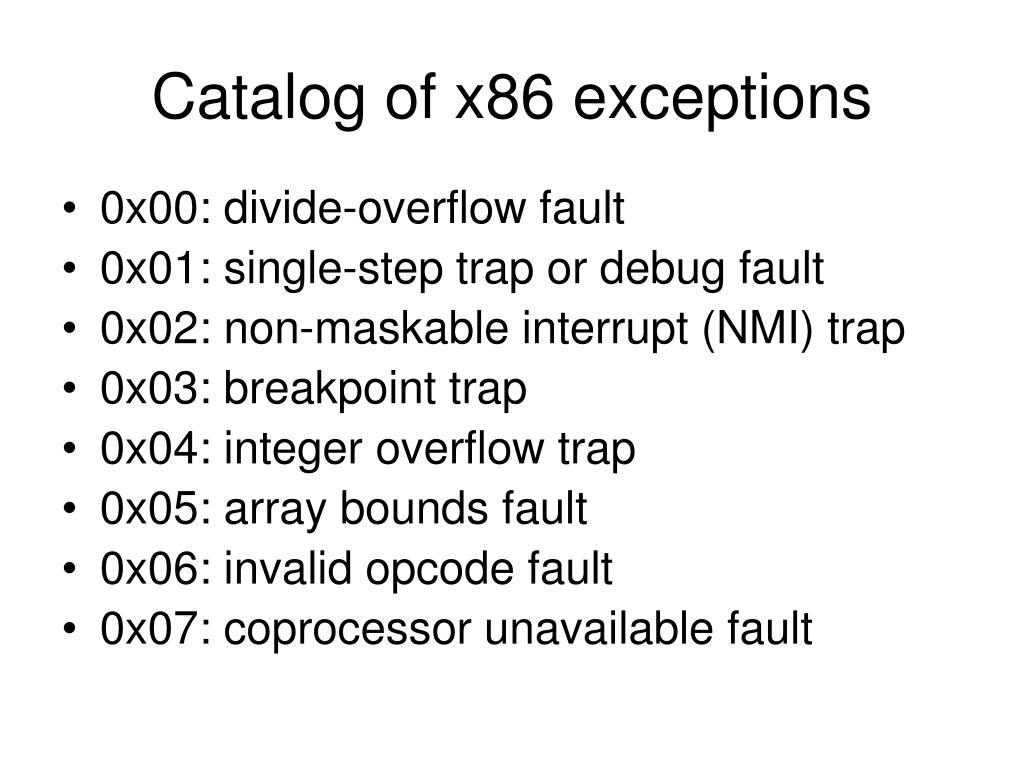 Catalog of x86 exceptions