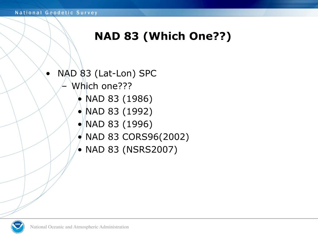 NAD 83 (Which One??)