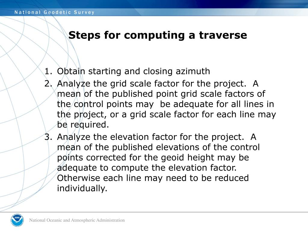 Steps for computing a traverse