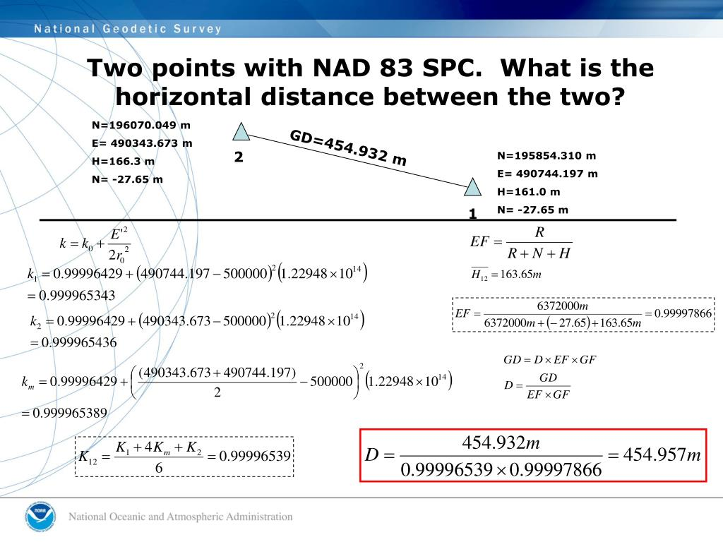 Two points with NAD 83 SPC.  What is the horizontal distance between the two?